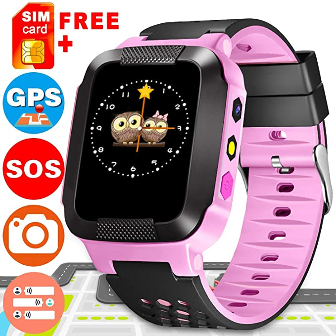 Kids Smart Watch Phone with Free SIM Card, Smart Watch for Kids with GPS Tracker Phone Watch, Camera SOS 2 Way Call Alarm Touch Screen iOS Android Kid ...