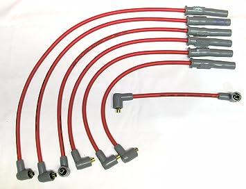 MSD rojo Bujía Cables Juego personalizado (7 cables) para Mitsubishi 3000 GT SOHC non-turbo - rojo Cables: Amazon.es: Coche y moto