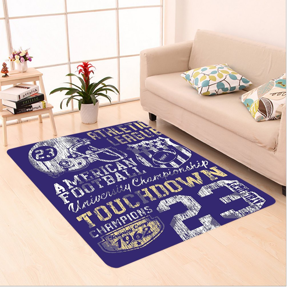 Nalahome Custom carpet o American Football College Version Illustration Athletic Championship Apparel Blue White Yellow area rugs for Living Dining Room Bedroom Hallway Office Carpet (6.5' X 10')