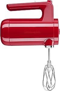 KitchenAid KHMB732PA Cordless Hand Mixer, 7 Speed, Passion Red
