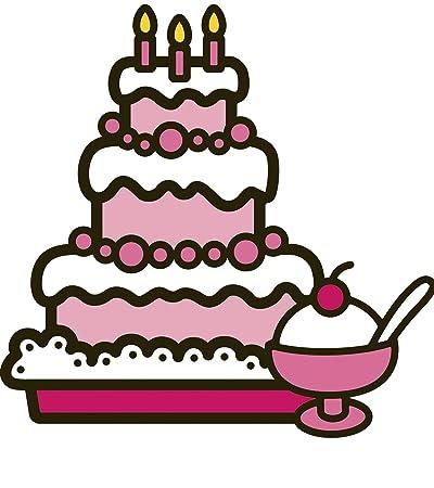 5 Inch Hello Kitty Decal Birthday Cake Ice Cream Sanrio Removable Peel Self Stick Wall Sticker
