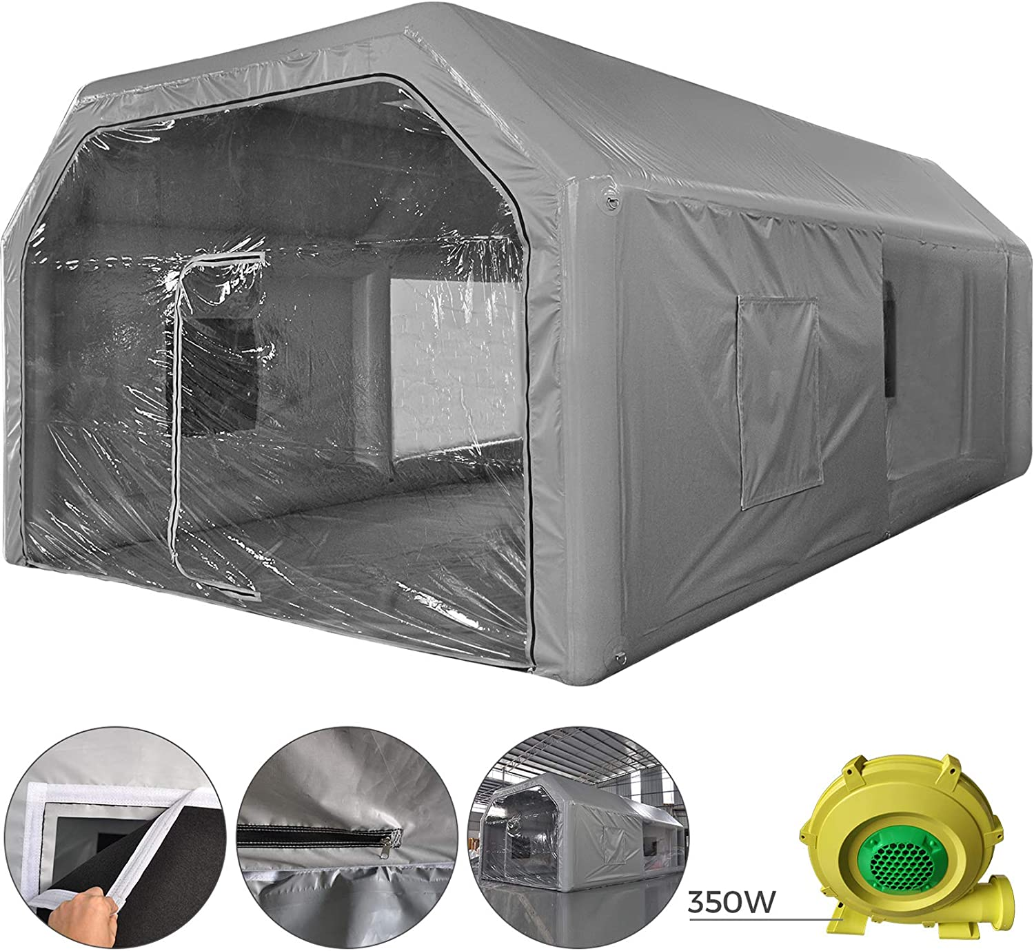Car Paint Booth Tent PVC with Blower Inflatable Spray Booth with Air Filtration System for Car Polishing,Spray Paint Booth LOVSHARE Inflatable Paint Booth Water-Resistent 26x15x10ft
