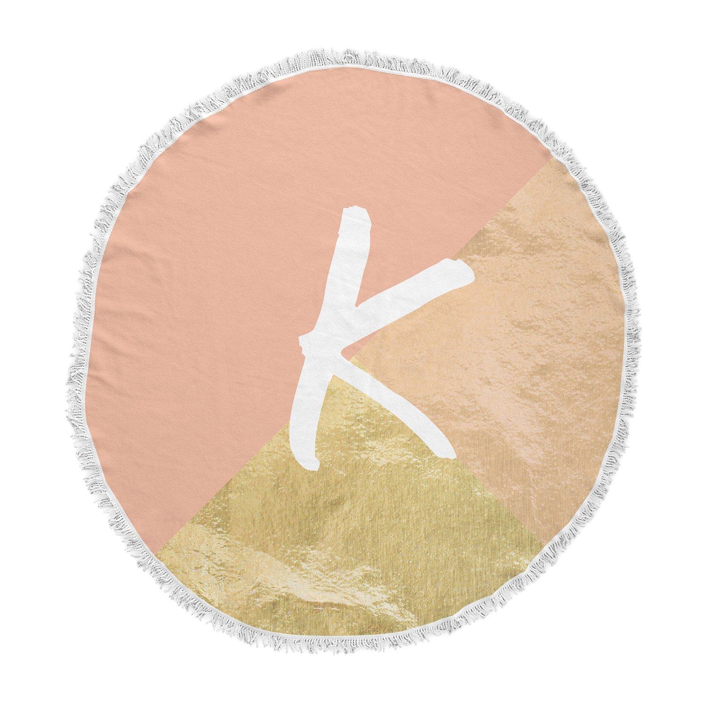 Kess InHouse Kess Original Monogram Foil Coral Round Beach Towel Blanket
