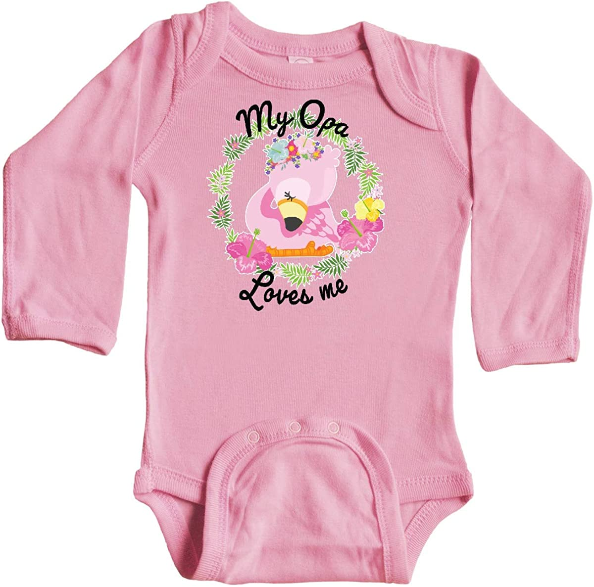 inktastic Baby Flamingo My Opa Loves Me with Flower Wreath Long Sleeve Creeper