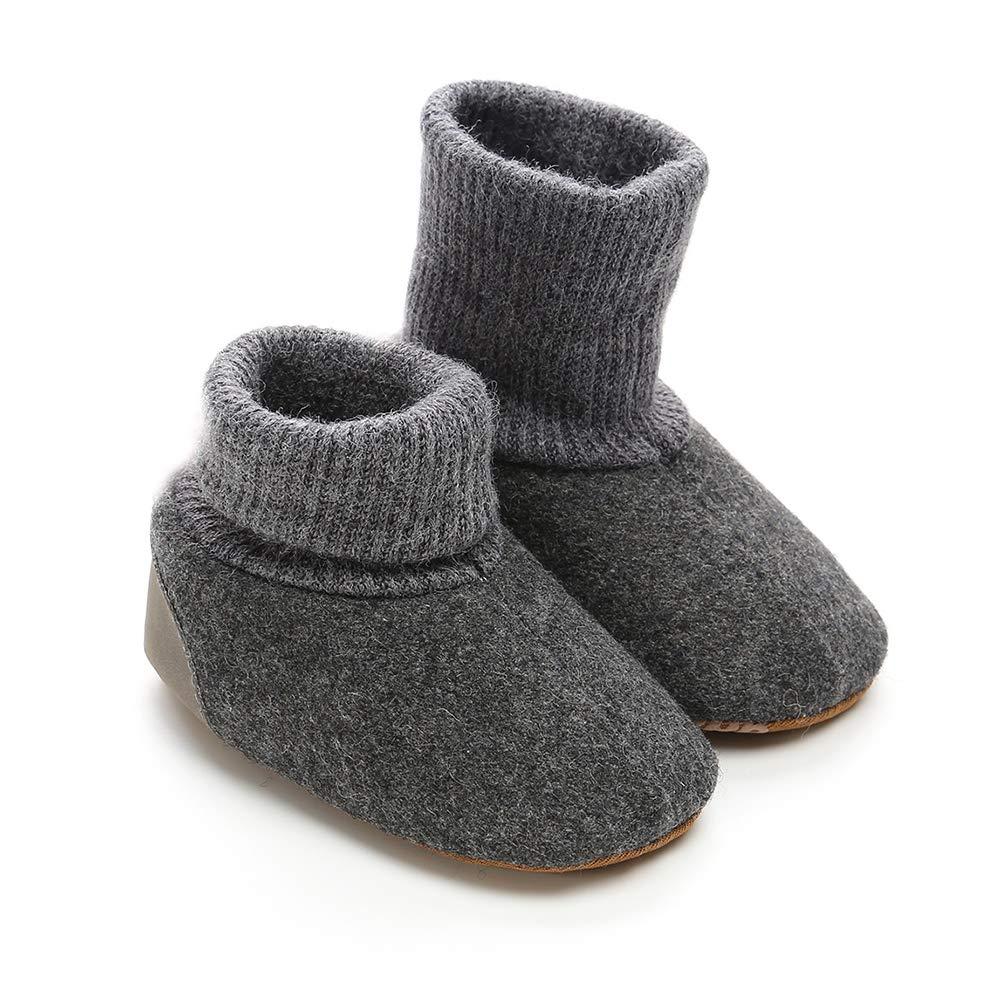 Alamana Fashion Infant Baby Girl Boy Linen Warm Anti-Slip Prewalker Toddler Shoes Black 12cm
