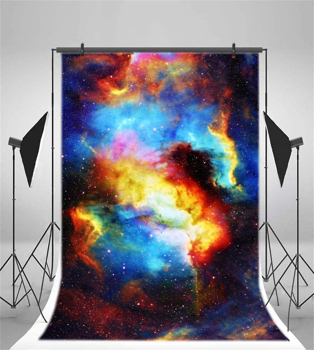 Abstract Nebula Backdrop 6.5x10ft Polyester Colorful Starry Sky Mysterious Deep Universe Outer Space Background Child Kids Baby Adult Portrait Shoot Oil Painting Wallpaper Studio Props