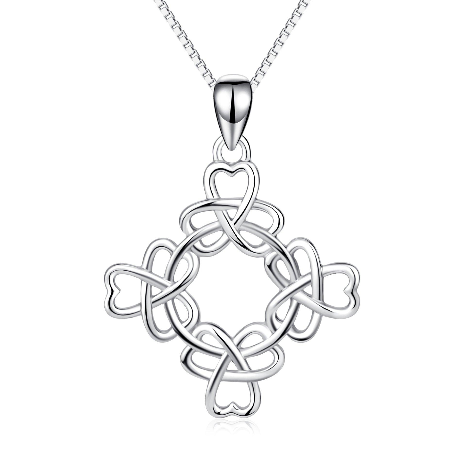 YFN 925 Stering Silver Good Luck Irish Triquetra Celtic Knot Pendant Heart Women Necklace 18'' (Good Luck Clover Knot)