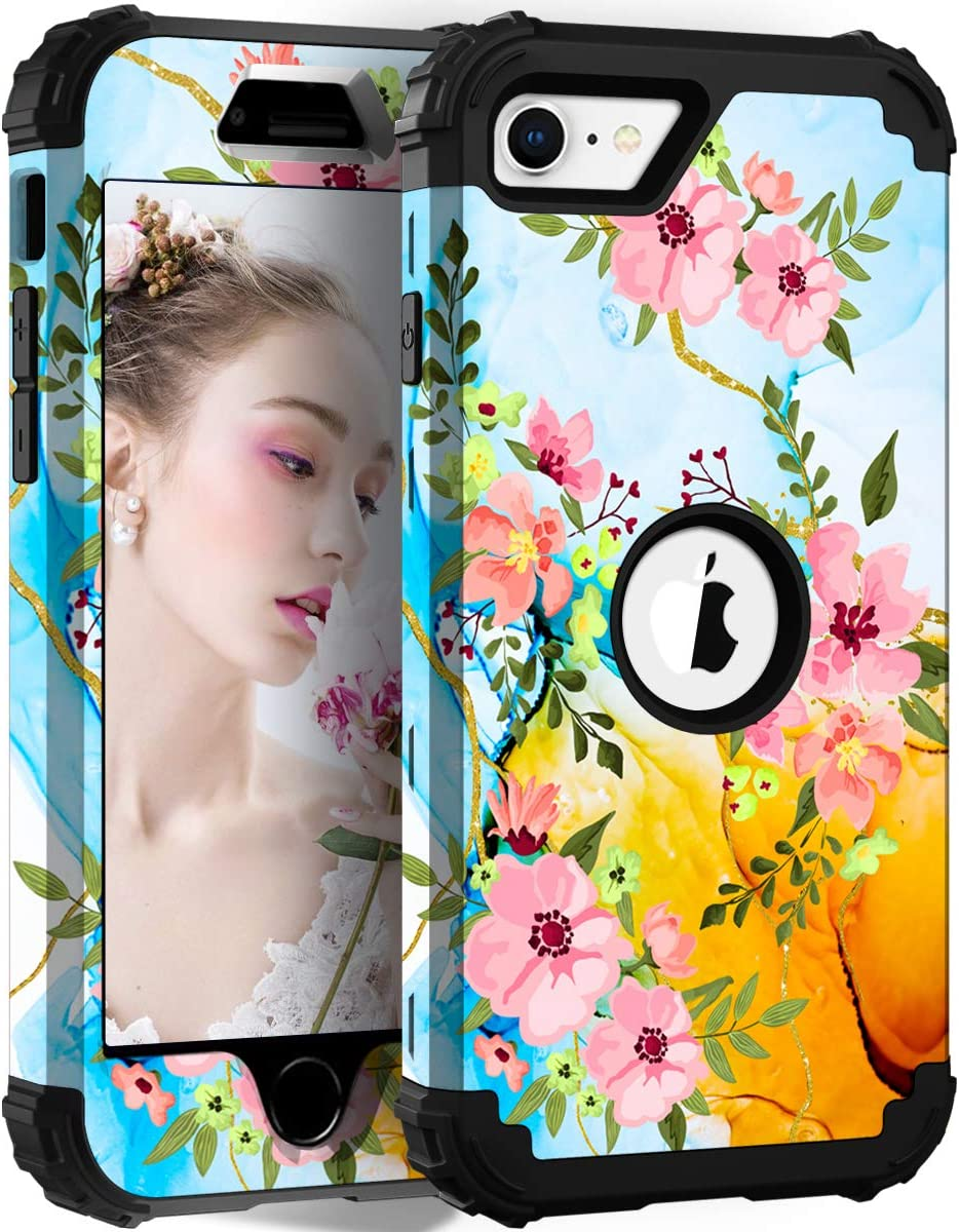 Hocase iPhone SE 2020 Case, Heavy Duty Shockproof Protection Hard Plastic+Silicone Rubber Hybrid Protective Case for iPhone SE 2nd Generation (4.7-inch Display) 2020 - Flowing Flowers