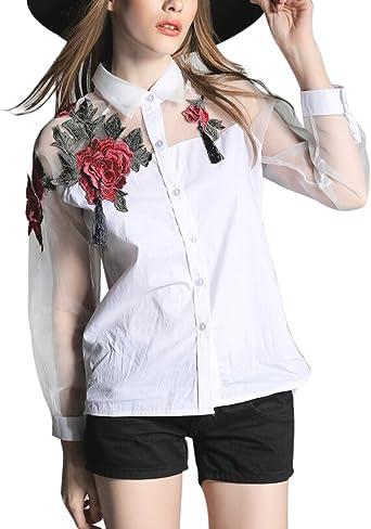 FakeFace Top camiseta blusa Elégant Mujer Manga Larga Bordada Flores Sexy bata tamaño grande primavera de verano para niña Mesdames