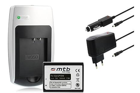 Batería + Cargador LP-E10 para Canon EOS 1100D, EOS Rebel T3