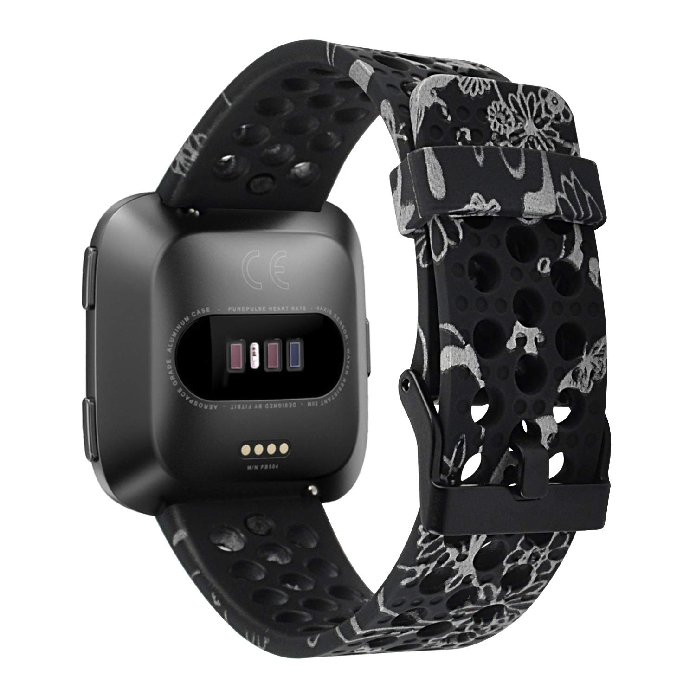RedTaro Bands Compatible with Fitbit Versa, Breathable Sport Bands Floral Design for Fitbit Versa Smartwatch Wemen Men