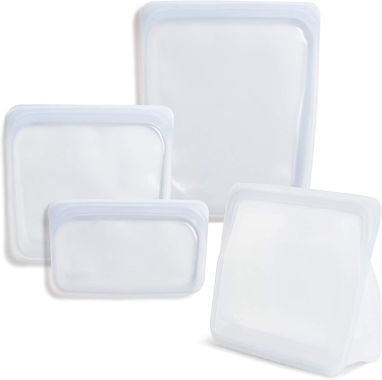 Stasher 100% Silicone Food Grade Reusable Storage Bag, Clear (Bundle 4-Pack Large) | Reduce Single-Use Plastic | Store or Freeze | Leakproof, Dishwasher-Safe, Eco-friendly, Non-Toxic