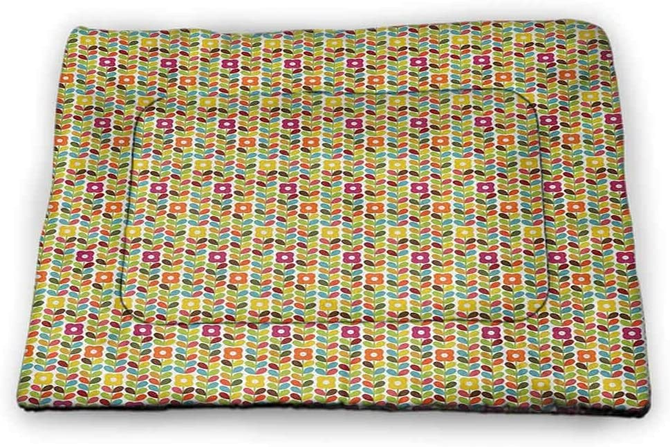 DayDayFun Colorful Dog Mat Retro Postal Pattern Different Countries Traveling Tourism Elements Collection Pet Mats for Food and Water Multicolor
