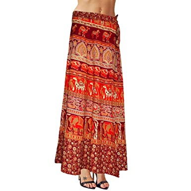 d539f28421 Image Unavailable. Image not available for. Color: Sttoffa Skirt Indian Multi  Color Cotton Long ...
