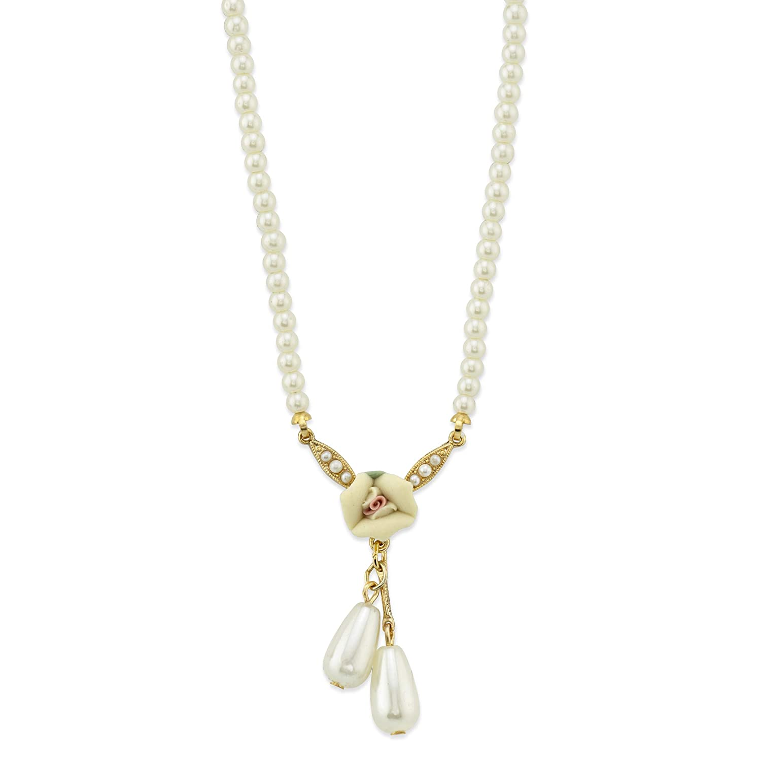 1928 Jewlery Gold-Tone Ivory Porcelain Rose and Simulated Pearl Drop Necklace 16 Adj.