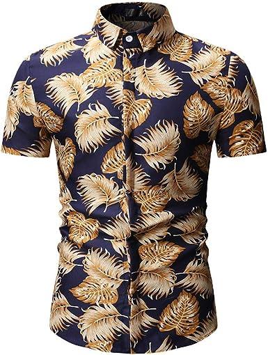SFE Mens Fashion Shirts,Mens Printed Casual Bluetton Down Short Sleeve Hawaiian Shirt Top Blouse