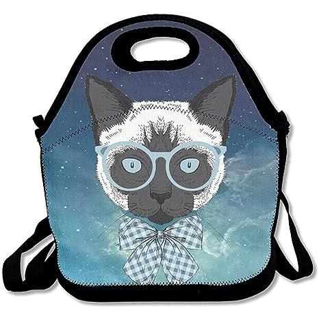 Hipster Cat - Bolsa térmica de neopreno para el almuerzo con ...