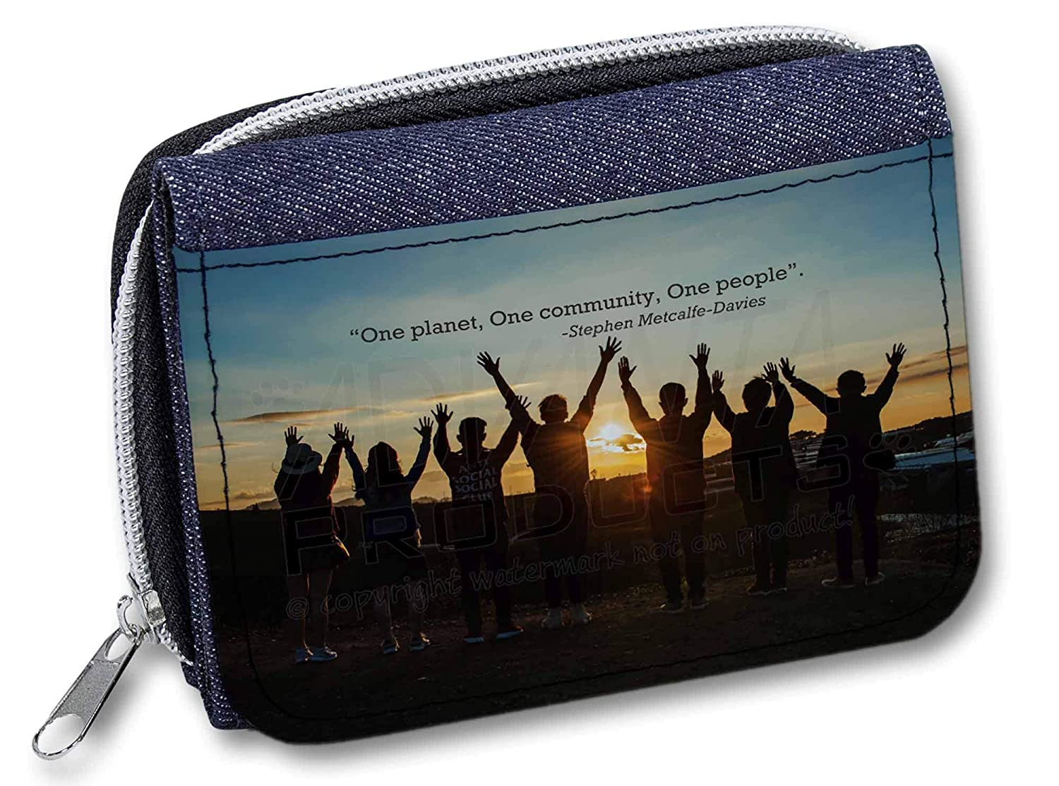Sentiments From The Soul One Planet, One People Quote Girs/Ladies Denim Purse Wallet Idea