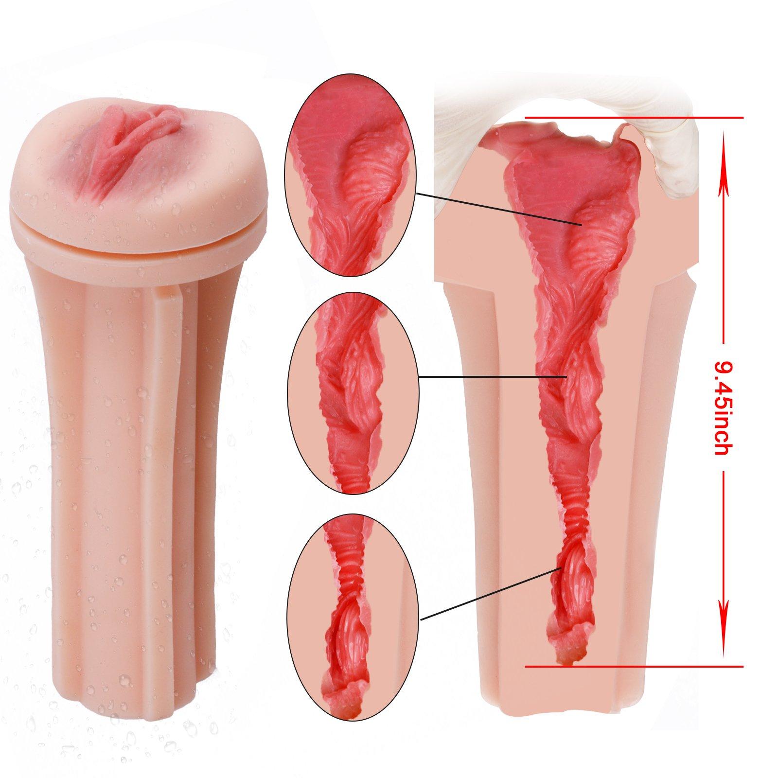 Male Cup Masturbator, Riodong 3D Realistic Vagina Masturbator Stroker Pocket Pussy Sex Toys for Male Masturbation (Black)