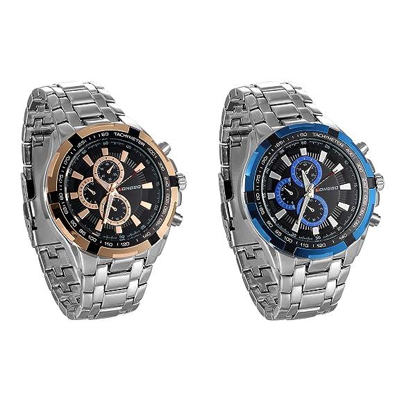 jewelrywe Reloj de Hombre Correa de Acero Inoxidable quadrantini Falsos 30 m Impermeable Reloj de Trabajo 2 Colores Paquete de 2: Amazon.es: Relojes
