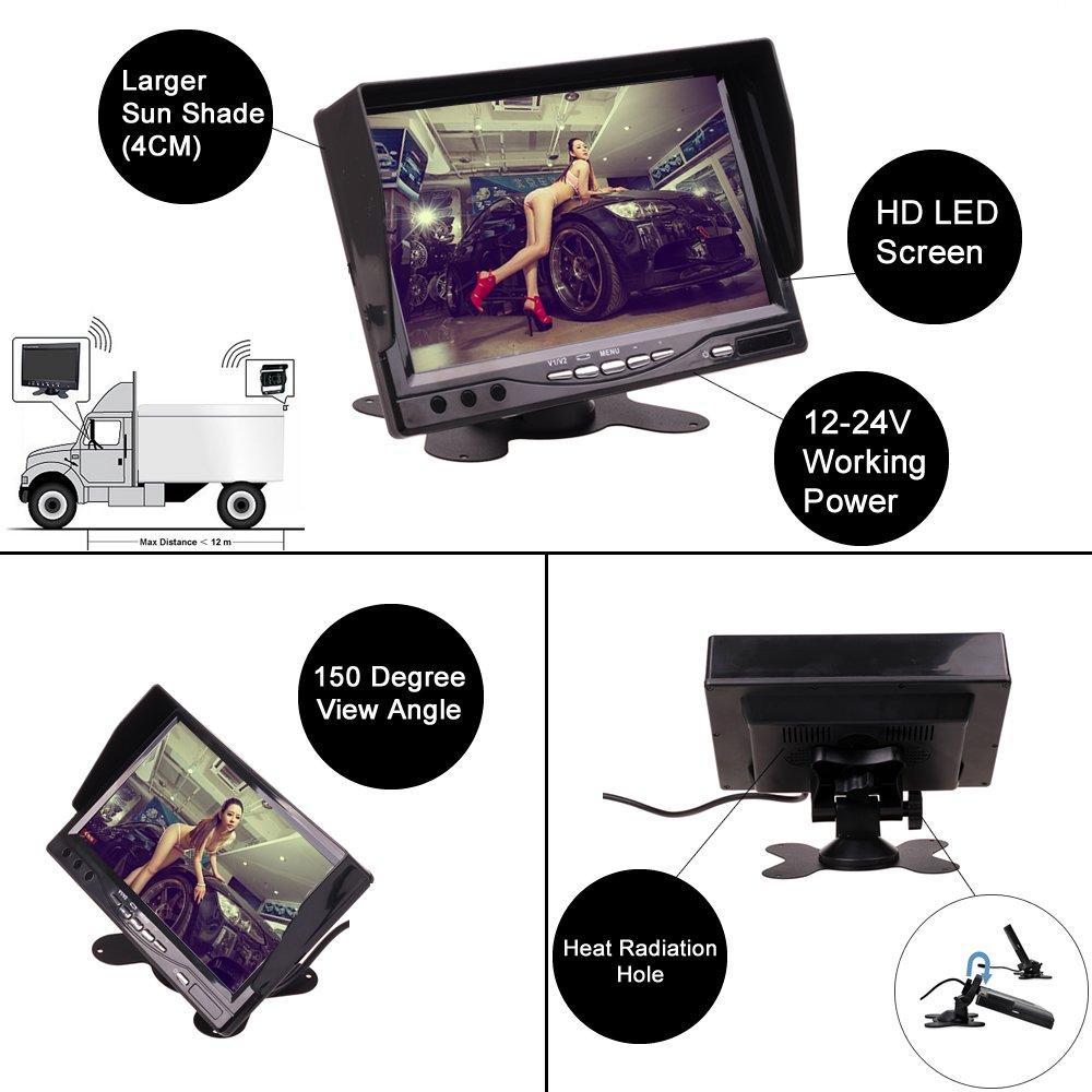 12V 24V 7 Inch Car Truck Bus Home CCTV Reverse Parking Video Monitor Screen Kit Combo Set Dashboard Stand Alone by HitCar Ac-7001B-24V+AC-5880/_BK
