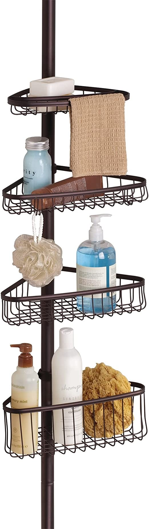 iDesign York Metal Wire Tension Rod Corner Shower Caddy Towels Silver Adjustable 5-9 Pole and Baskets for Shampoo Soap with Hooks for Razors Conditioner