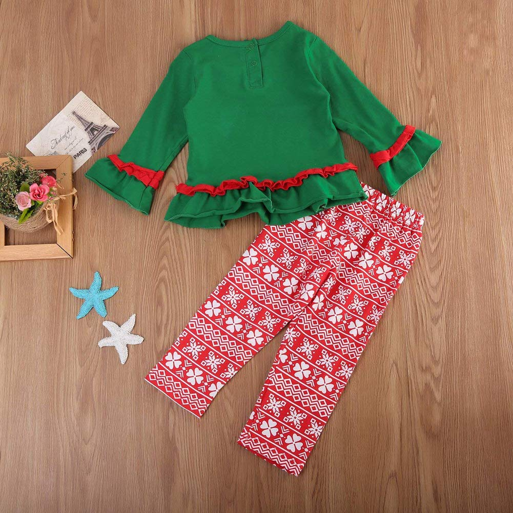 Toddler Girl Christmas Outfits Santa Snowman Ruffle Shirt Top+Red Striped Long Pants Clothes Set