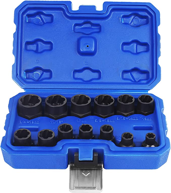 10x High//Low Bolt Nut Remover Extractor Kit Damaged Stripped Socket Wrench Set#G