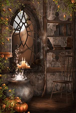 5x7ft Vintage Magic Room Background Witch Magical Potion Photography Backdrop Medieval Wizard Candle Pumpkin Broom Bookshelf Boy Girl Child Kid Portrait Halloween Photo Studio Props Wallpaper