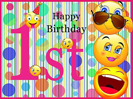 Sensfun 8x6ft Colorful Polka Dots Emoji First Birthday Backdrops Personalized Poster With Happy Smileys Wall