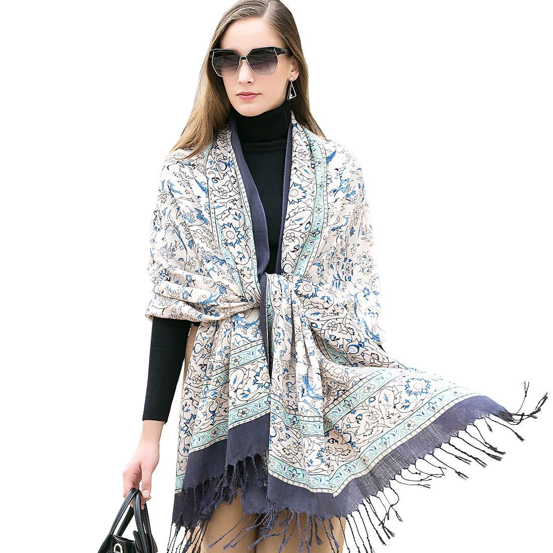 DANA XU 100% Pure Wool Women Winter Large Size Pashmina Travel Shawl (White&Blue) by DANA XU