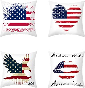 """4 Pieces Patriotic American Pillow Cover 4th of July Independence Day USA Throw Pillow Case Sofa Bed Couch Patriotic Throw Cushion Cover Decoration (18"""" x 18"""")"""