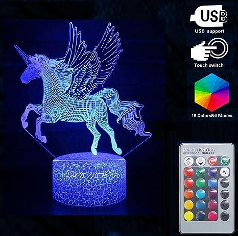 Led Glass Block 19 x 19 x 8 CM Purple Unicorn