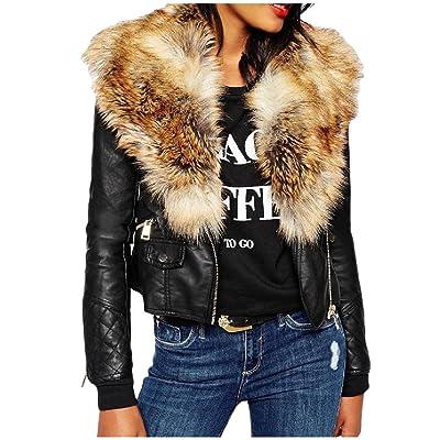 Abetteric Women Vintage Fur Collar Zip-Up Pockets Faux Leather Jackets