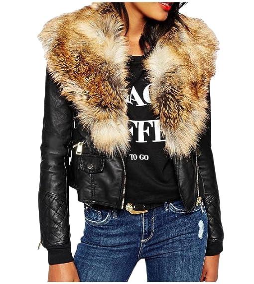 Abetteric Women Vintage Fur Collar Zip-Up Pockets Faux Leather ...