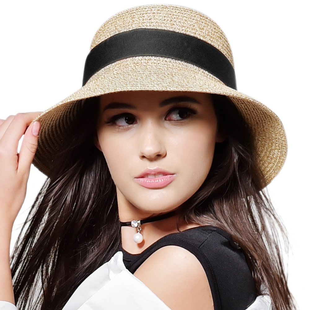 FURTALK Womens Beach Sun Straw Hat UPF50 Travel Foldable Summer Hat SH020straw-beigeblack