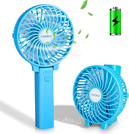 NEEGO Mini Ventiladores de Mano USB Ventilador de Mano Recargable Portátil Ventilador Plegable Mini Ventilador para Niños Ventiladores con 3 Velocidades para Oficina/Camping/Viajes/Exterior (Azul): Amazon.es: Hogar