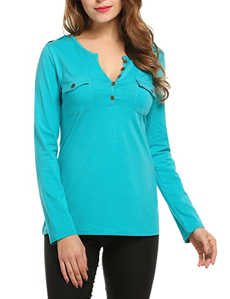 28899f36c97 Misakia Women s Button Down V Neck Long Sleeve Henley Tshirt With ...