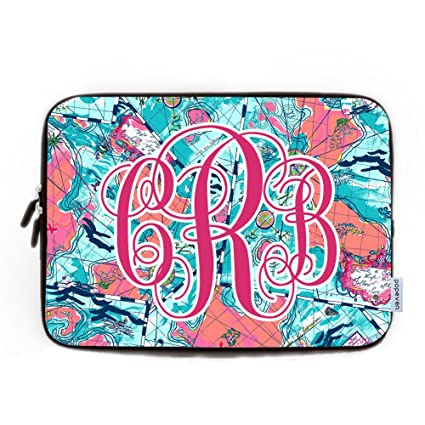 995301964346 15-15.4 Inch Nautical Laptop Case for Women Monogram Computer Sleeve Cover  Soft Water Resistance Neoprene Laptop Sleeve for Macbook Air