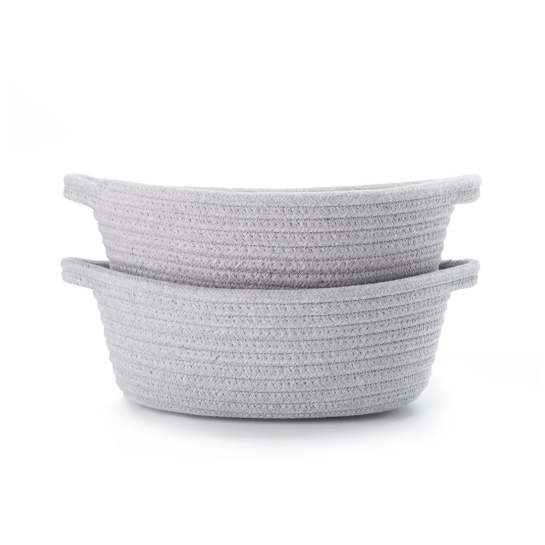 LoongBaby Cotton Rope Storage Basket Toy Chest Nesting Bins Candy Basket Handmade Box Approved by the FDA for Household Kids Toy Collection Grey-M