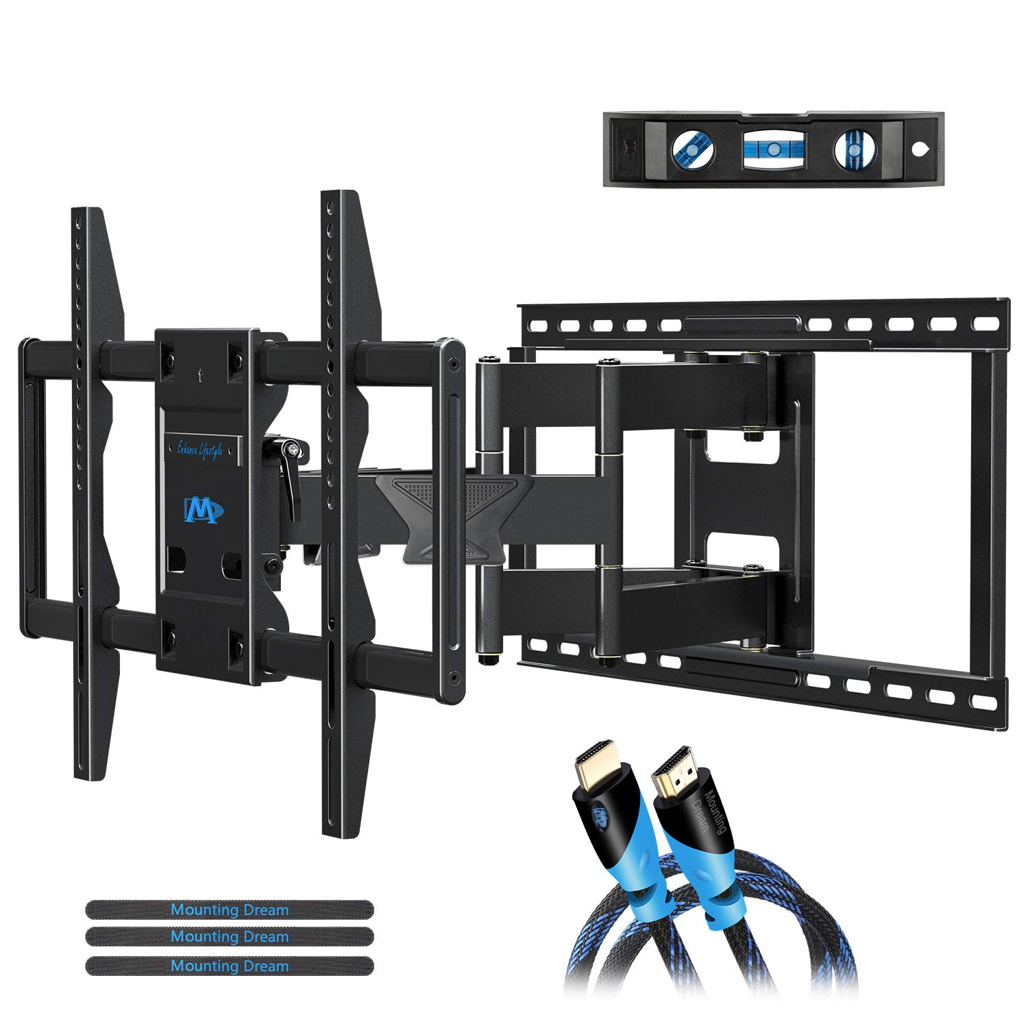 Mounting Dream Full Motion TV Mount Wall Bracket TV Wall Mounts for 42-75 Inch TV, Premium TV Bracket, Fits 16, 18, 24 inch Wood Stud Spacing with Articulating Arm up to VESA 600x400mm, 132 lbs MD2298 by Mounting Dream