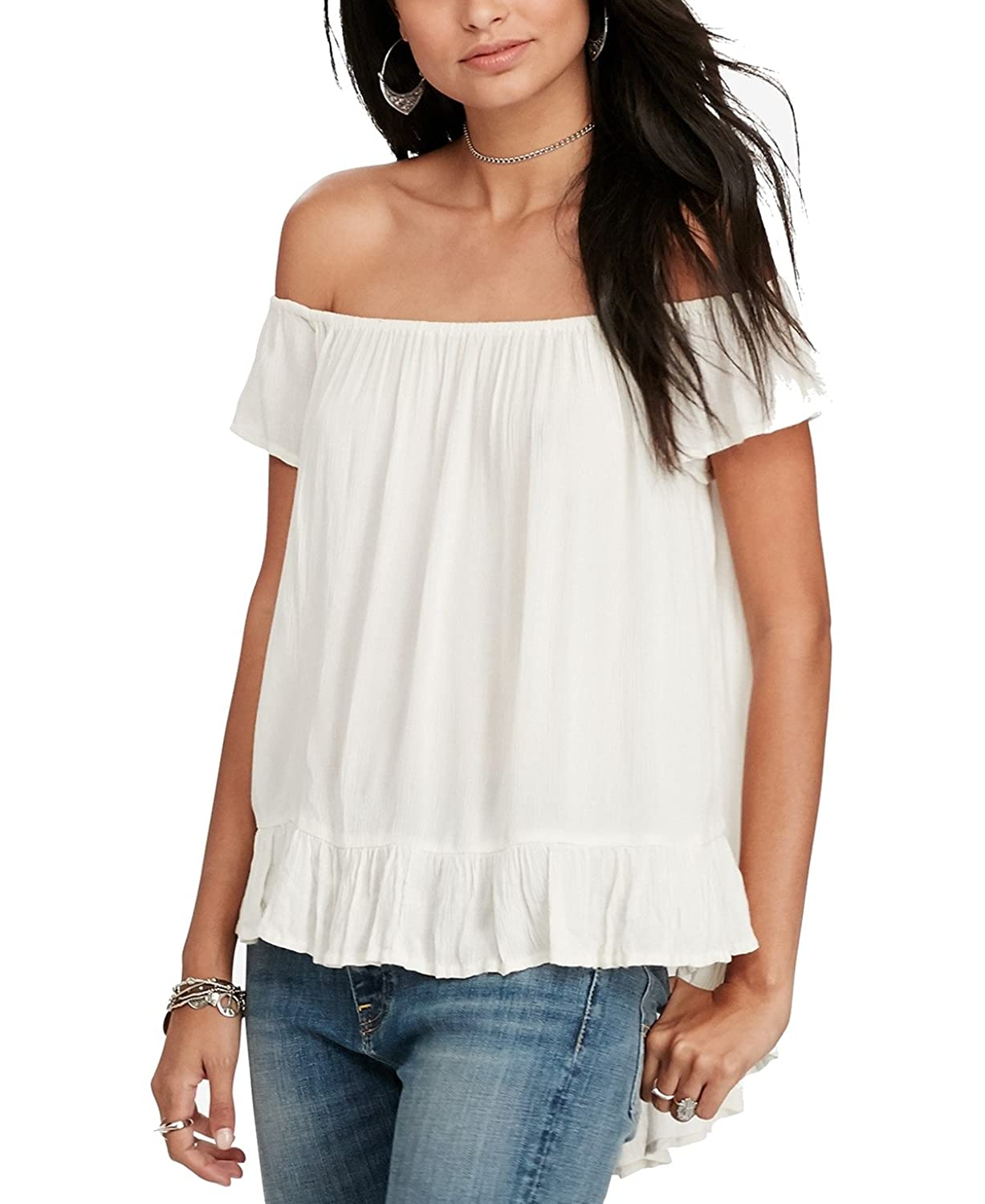 73e3bf25afec8 Top1  Denim   Supply Ralph Lauren Womens Crinkled Off-The-Shoulder Casual  Top