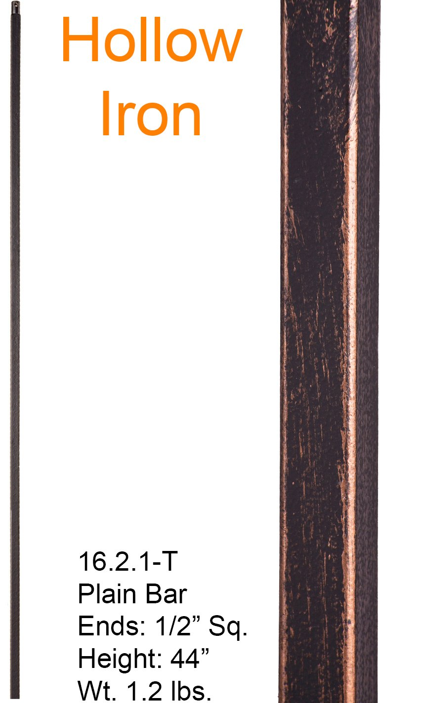 Oil Rubbed Bronze 16.2.1-T Hollow Plain Straight Bar Iron Baluster for Staircase Remodel, Box of 5