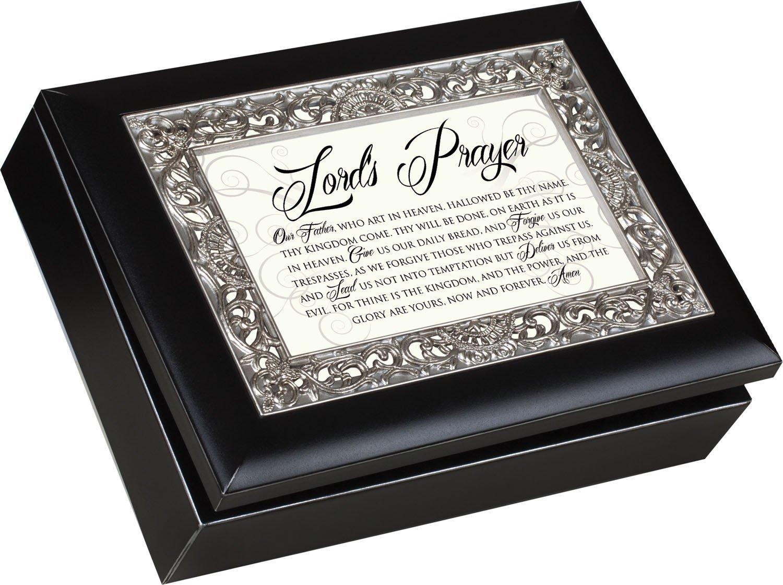 古典 Lord 's Prayer装飾シルバーカラーインレージュエリーマットブラック仕上げ音楽ボックスPlays 's Lord Amazing Amazing Grace B00KMBSG6M, すとろんぐオンライン:fef84408 --- arcego.dominiotemporario.com