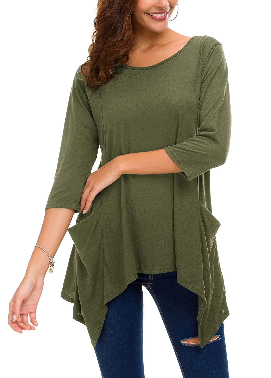 2f4d3412636 Urban CoCo Women s Plus Size 3 4 Sleeve Tunic Tops for Leggings Loose  Pocket Shirt at Amazon Women s Clothing store