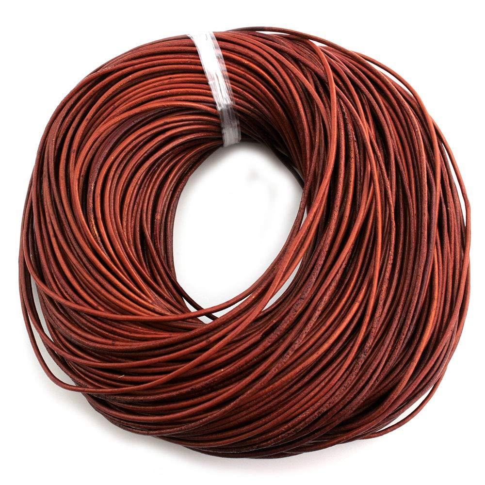 RUBY- 10m Cuerda de piel redonda Ø 3mm. Marrón antiguo. Marrón envejecido, Cordón Cuero para Collar Pulsera Abalorios Bisutería (10m) Ruby abalorios
