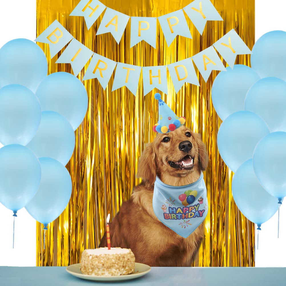 PUPTECK 16 Pack - Dog Birthday Bandana - Cute Party Hat - Happy Birthday Banner, Party Backdrop, 12pcs Blue Balloons - Decorations Kit