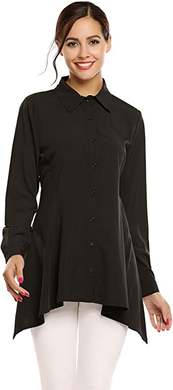 Meaneor Mujer Camisa Manga Larga Sólido Camiseta Casual Formal Irregular Top