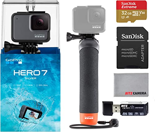 GoPro Hero7 Silver Bundle with GoPro Float Handle, Sandisk U3 32GB Memory Card and Ritz Camera Memory Card Reader