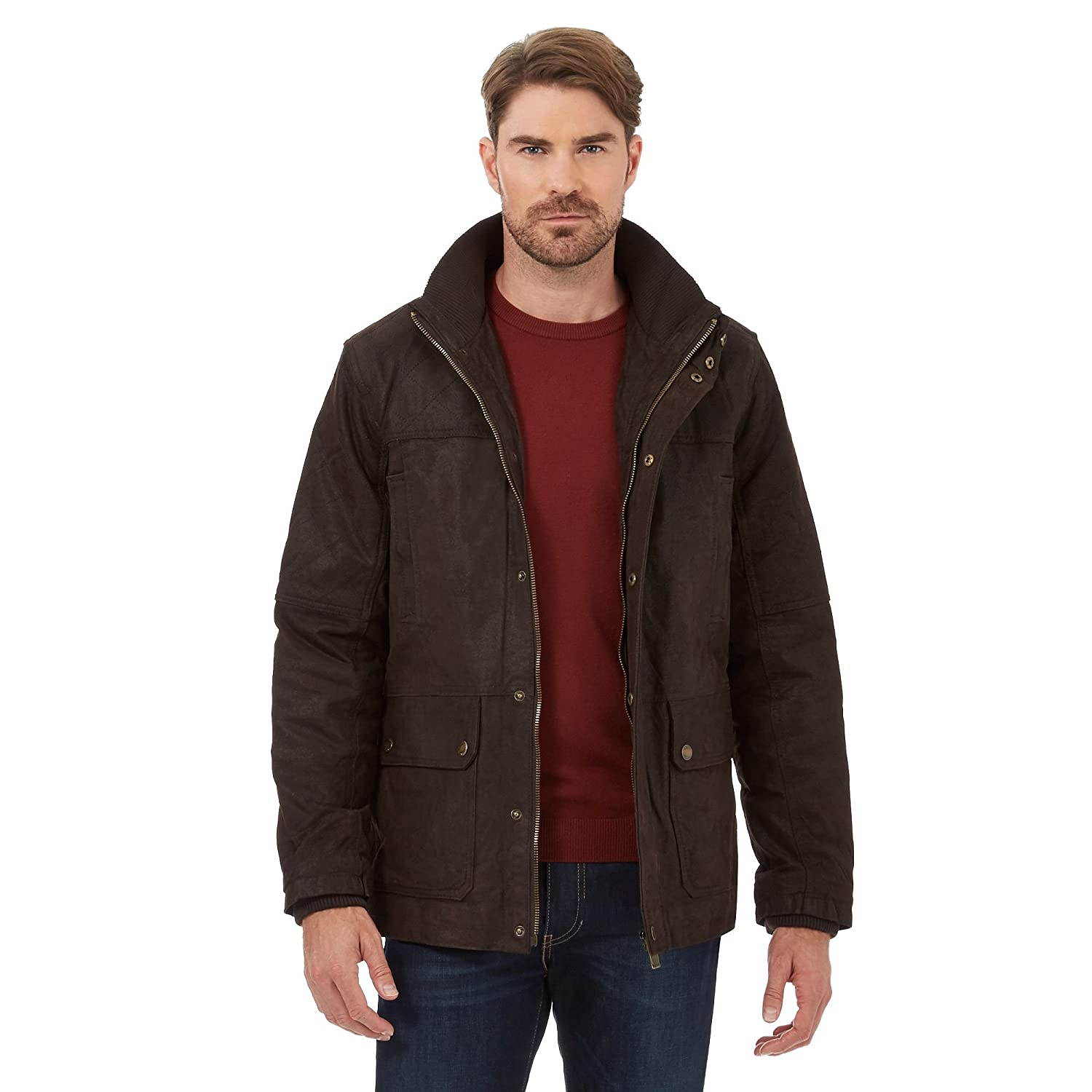 Barneys Mens Dark Brown Leather Jacket